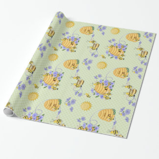 Bee Dance Floral Wrapping Paper