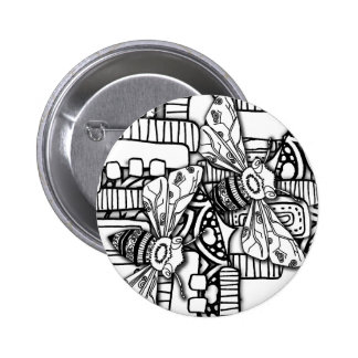 Bee Doodles 6 Cm Round Badge