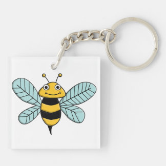 Bee Double-Sided Square Acrylic Key Ring