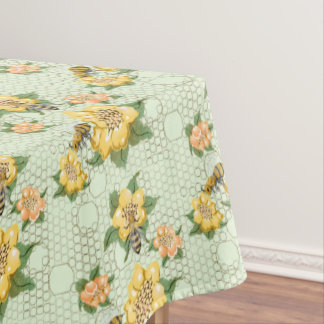 Bee Floral Vintage Honeycomb Botanical Pattern Tablecloth