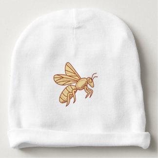 Bee Flying Mono Line Baby Beanie