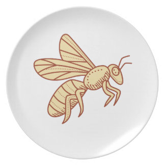 Bee Flying Mono Line Dinner Plates