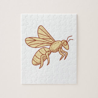 Bee Flying Mono Line Jigsaw Puzzle