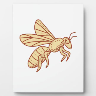Bee Flying Mono Line Plaque