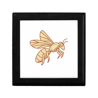 Bee Flying Mono Line Small Square Gift Box
