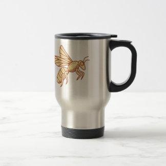 Bee Flying Mono Line Travel Mug