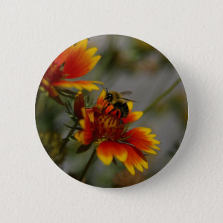 Bee foraging on a flower 6 cm round badge