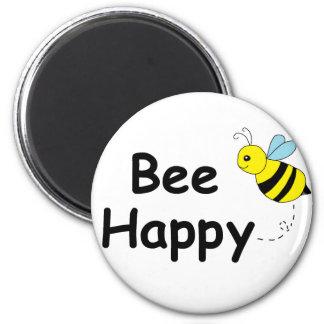 Bee Happy 6 Cm Round Magnet