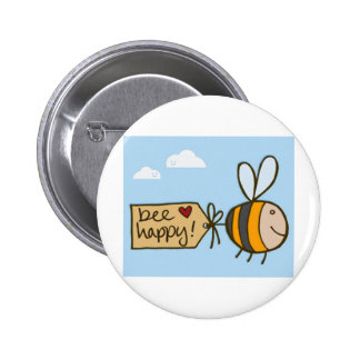 Bee Happy Pinback Buttons