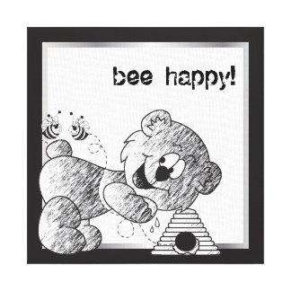 Bee Happy Bear Canvas Designs Canvas Print
