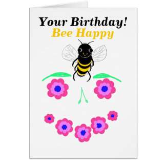 Bee Happy Birthday card customise