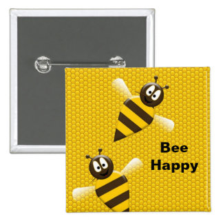 Bee Happy Bumblebee Button