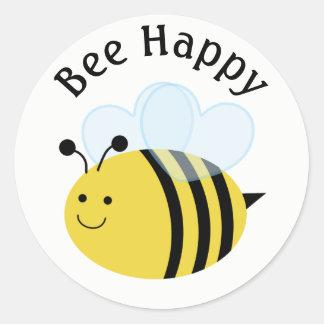 Bee Happy Bumblebee Classic Round Sticker