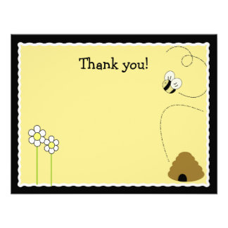 Bee Happy Bumblebee Matte Finish Thank you card Custom Announcement