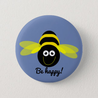 Bee Happy cartoon bee button badge