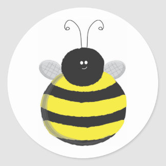 Bee Happy Chubby cute bee Round Sticker