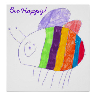 BEE HAPPY Colorful Bumble Bee Poster