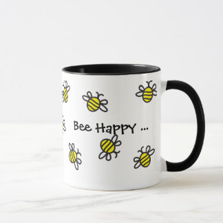 """Bee Happy"" Cute Bumble Bee Mug"