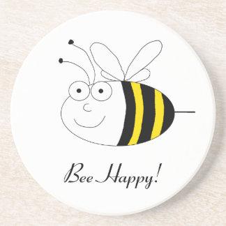 Bee Happy! Cute honeybee coaster