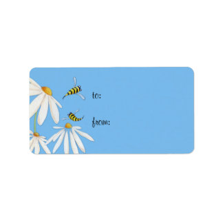 Bee Happy Daisies Gift Tag Label Address Label