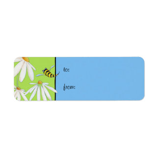 Bee Happy Daisies small Gift Tag Label Return Address Label