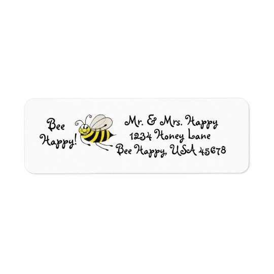 Bee Happy - Honey Bee - Customisable Address Label