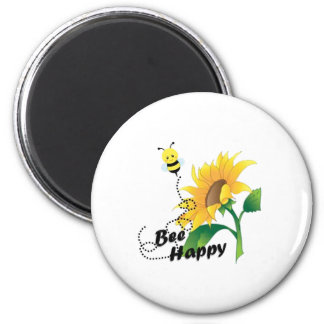 Bee Happy Magnet with Sunflower