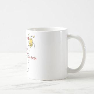 Bee Happy Basic White Mug