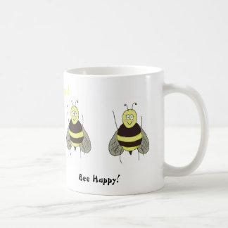 Bee Happy Mug Coffee Cup Whimsical Cute