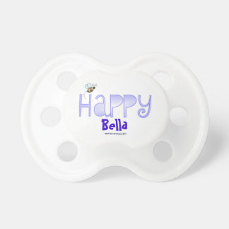 Bee Happy (Name) Blue Baby Pacifiers