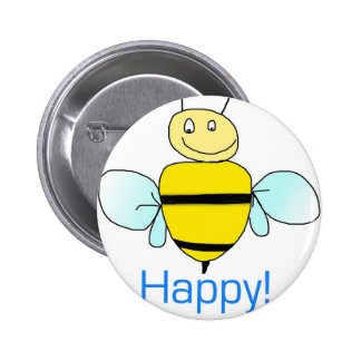 Bee-happy. Pinback Buttons