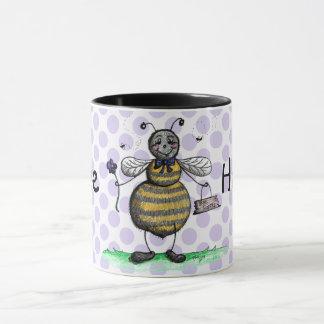 Bee Happy Purple Polka Dot Mug