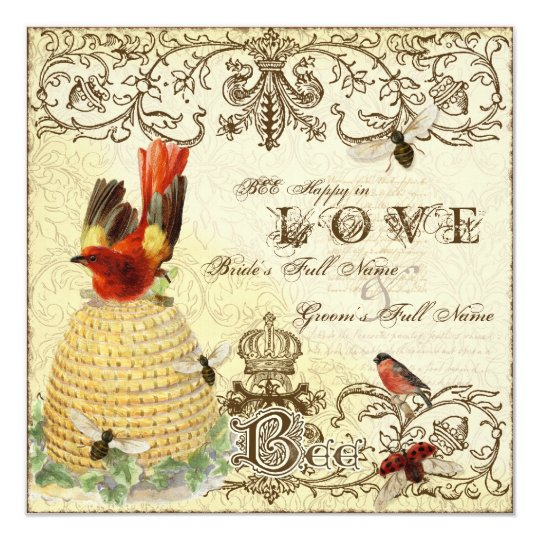 Bee Happy Vintage - Wedding Invitation
