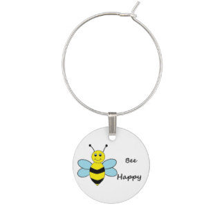 Bee Happy Wine Charm