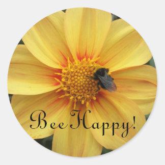 Bee Happy Yellow Floral Round Sticker