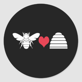 Bee Heart Hive Classic Round Sticker
