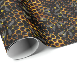 Bee hive honey comb beekeeper bee farm wrapping paper