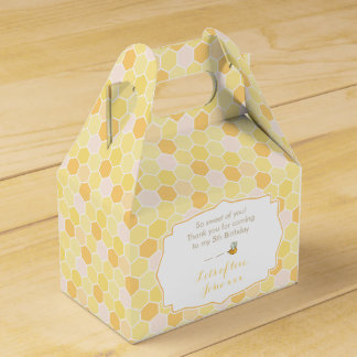 Bee, honey or honeycomb yellow favor box design