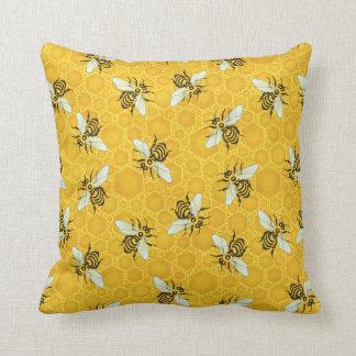 Bee Honeycomb Honeybee Beehive Pattern Cute Nature Cushion