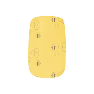 Bee Honeycomb Pattern Minx Nail Art