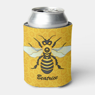 Bee Honeycomb Personalized Name Honeybee Hive Can Cooler