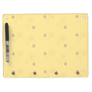 Bee Honeycomb Print Dry Erase Board With Key Ring Holder