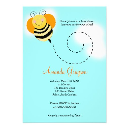 bee hop bumble bee baby shower 2 invitation 5x7 zazzle