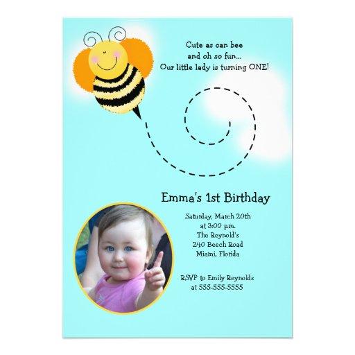 BEE HOP *Photo* Birthday Bumble Bee Invitation