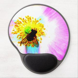Bee in a Poppy Flower Nature Photography Gel Mouse Pad