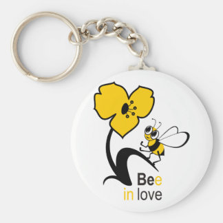 Bee in love basic round button key ring