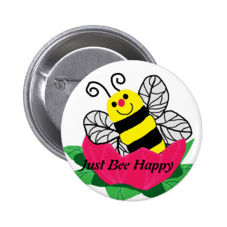 Bee in the flower Just Bee Happy button