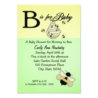 Bee is for Baby Shower 13 Cm X 18 Cm Invitation Card
