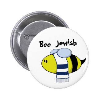 """Bee Jewish"" 6 Cm Round Badge"