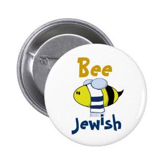 """Bee Jewish"" 6 Cm Round Badge"